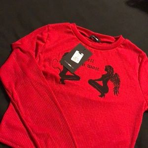 Fashion nova red hell can wait crop top. S